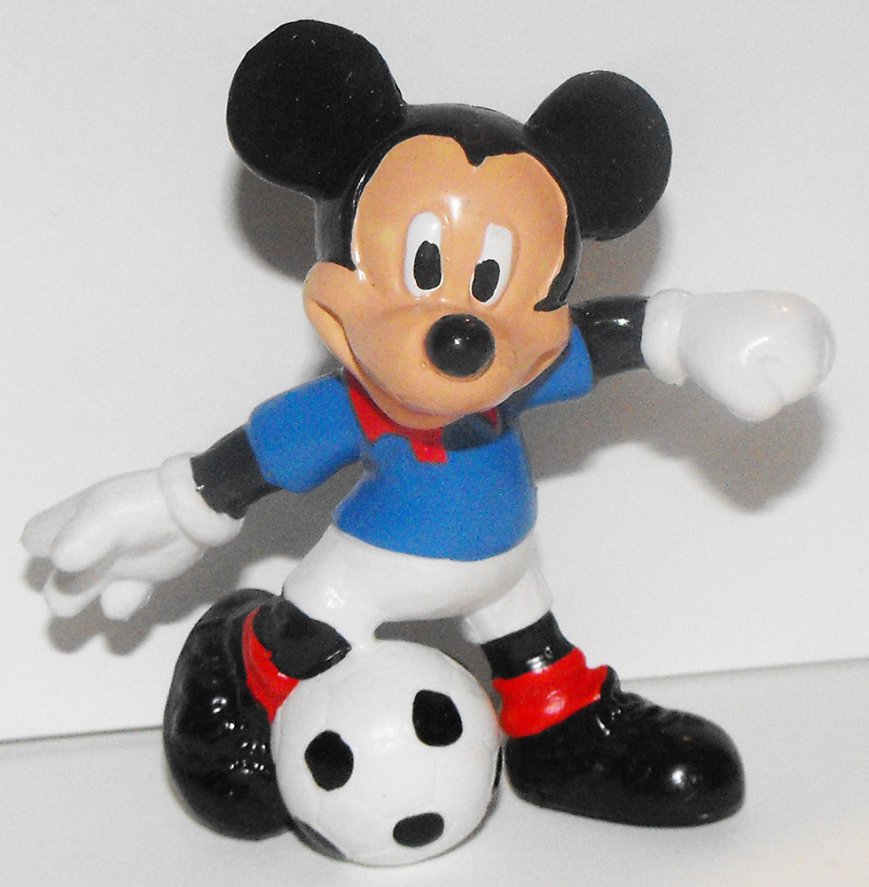 Mickey Mouse (blue shirt) Kicking Soccer Ball 2 inch Plastic Figure