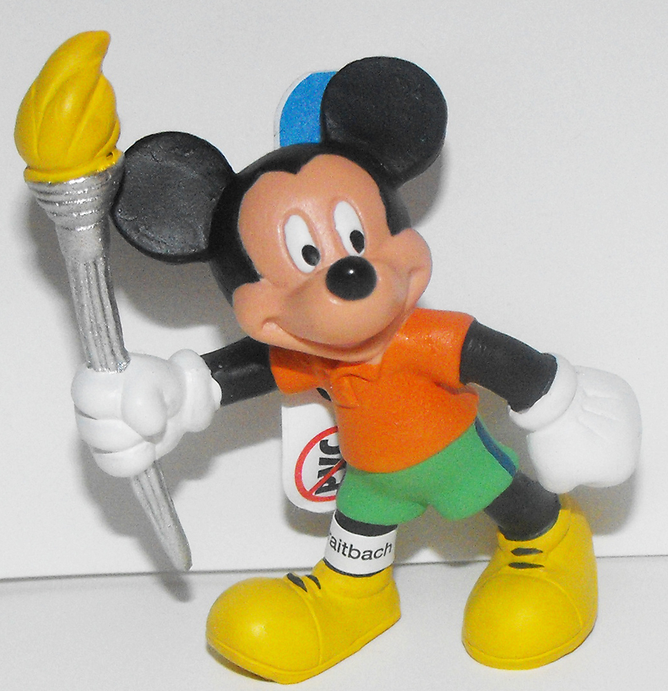 Mickey Mouse with Olympic Torch 2 inch Plastic Figurine