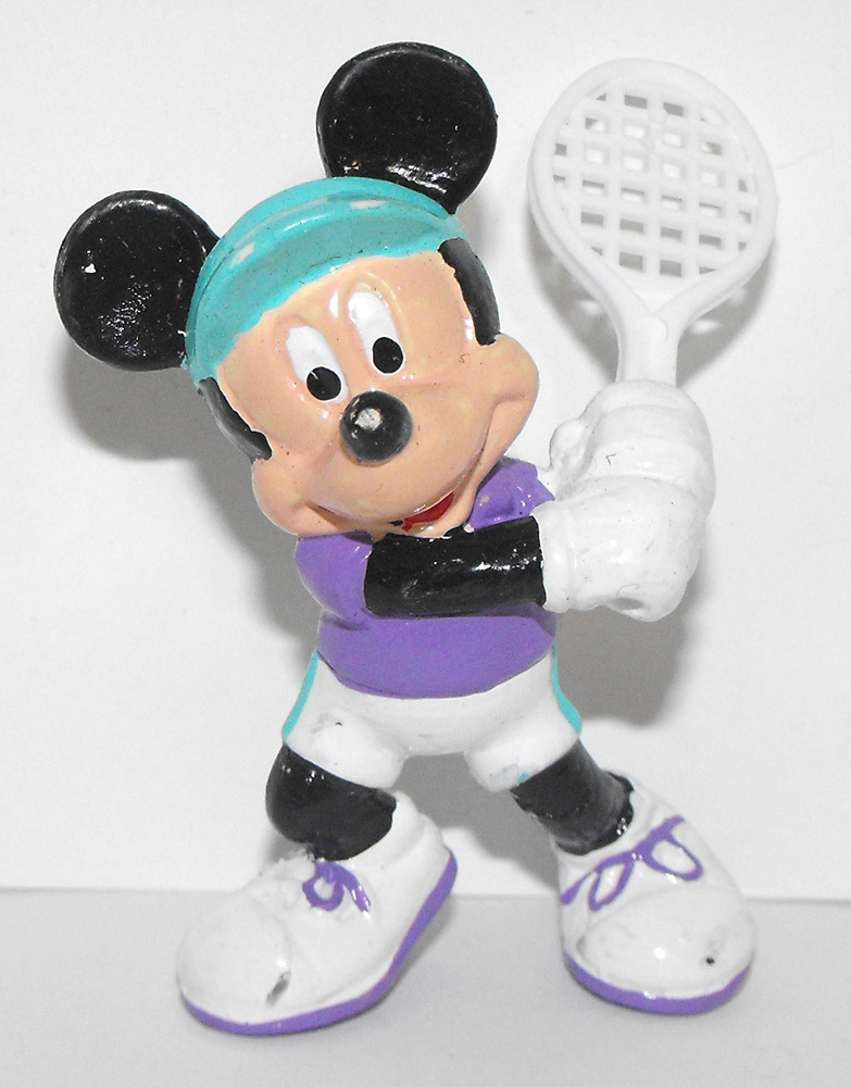 Mickey Mouse Playing Tennis 2 inch Plastic Figurine