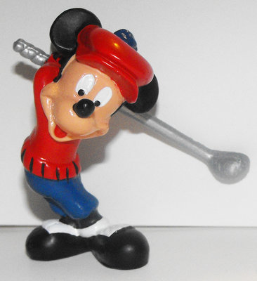 Mickey Mouse Golfing Plastic 2 inch Plastic Figurine