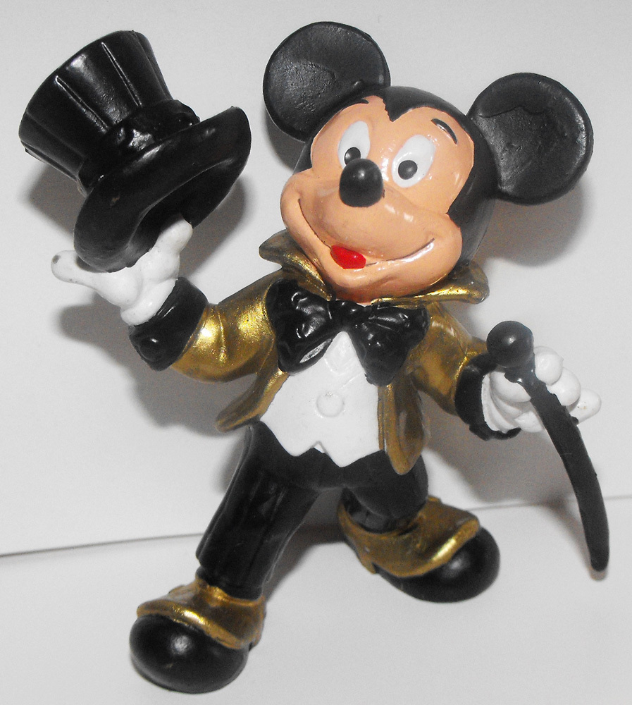 Mickey Mouse with Top Hat Gold 3 inch Plastic Figurine