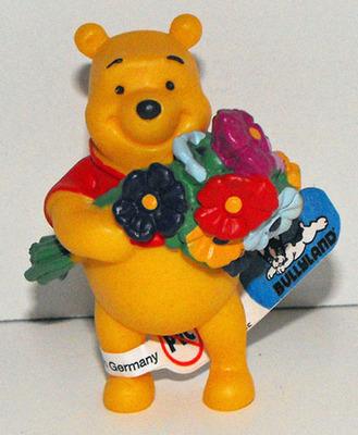 Winnie the Pooh with Flowers Plastic Figurine Disney Miniature Figure