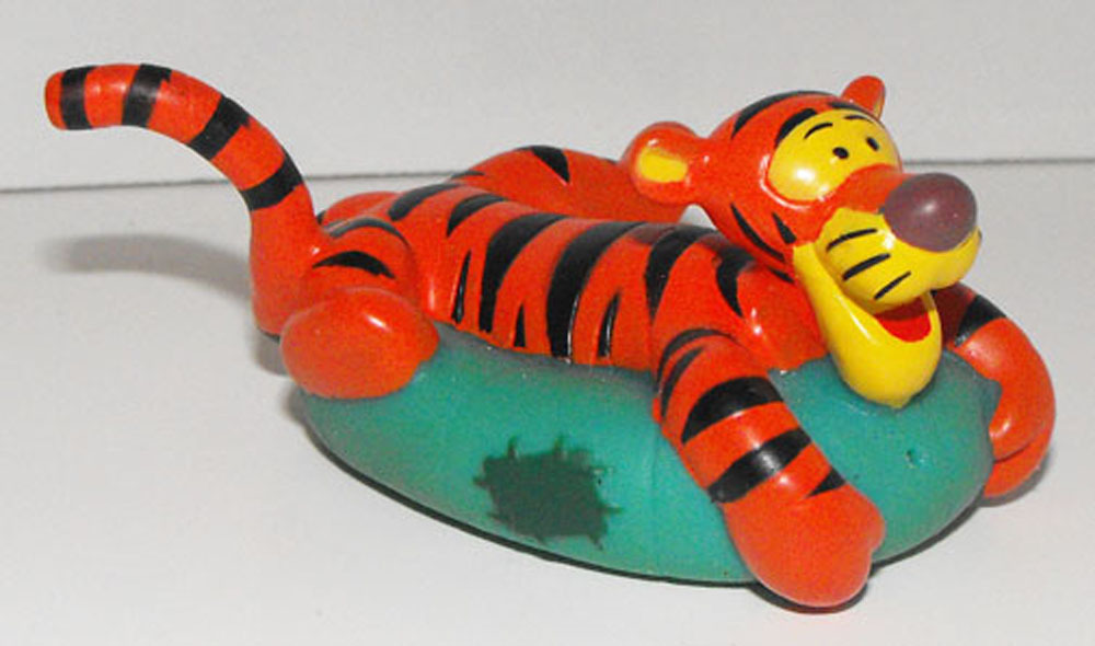 Tigger on Swimming Tube Plastic Disney Figurine Floats on Water Bath Tub Toy