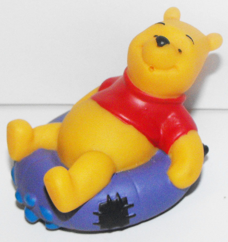 Winnie the Pooh on Swimming Tube Disney Figurine Floats on Water Bath Tub Toy