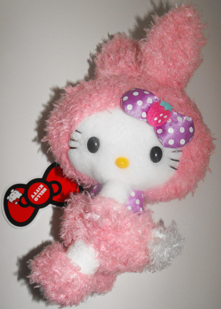 Pink Plush Hello Kitty Fuzzy Bunny 8 inches Doll Stuffed Animal