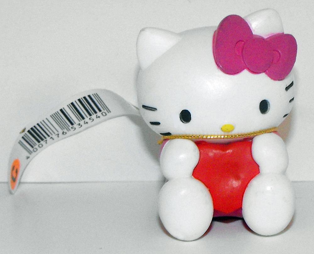 Hello Kitty Pink Bow Red Heart 2 inch Plastic Figurine Sanrio Figure