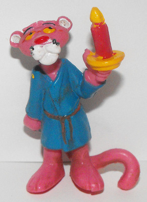 Pink Panther in Blue Robe with Candle 2 inch Figurine