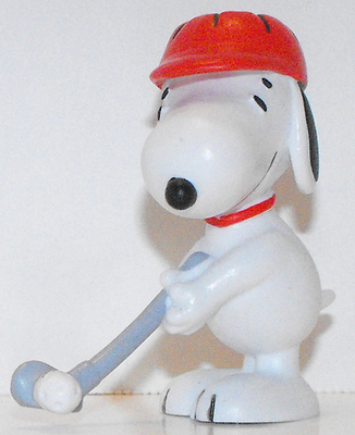Snoopy in Red Hat Golfing 2 inch Figurine Peanuts Miniature Figure