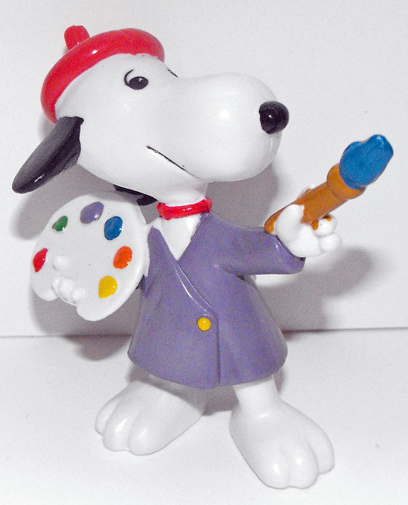 Artist Snoopy 2 inch Plastic Figurine Peanuts Miniature Figure