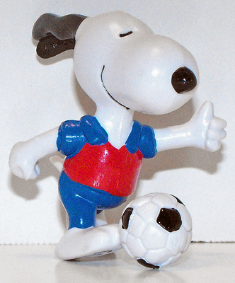 Snoopy Playing Soccer 2 inch Figurine Peanuts Miniature Figure