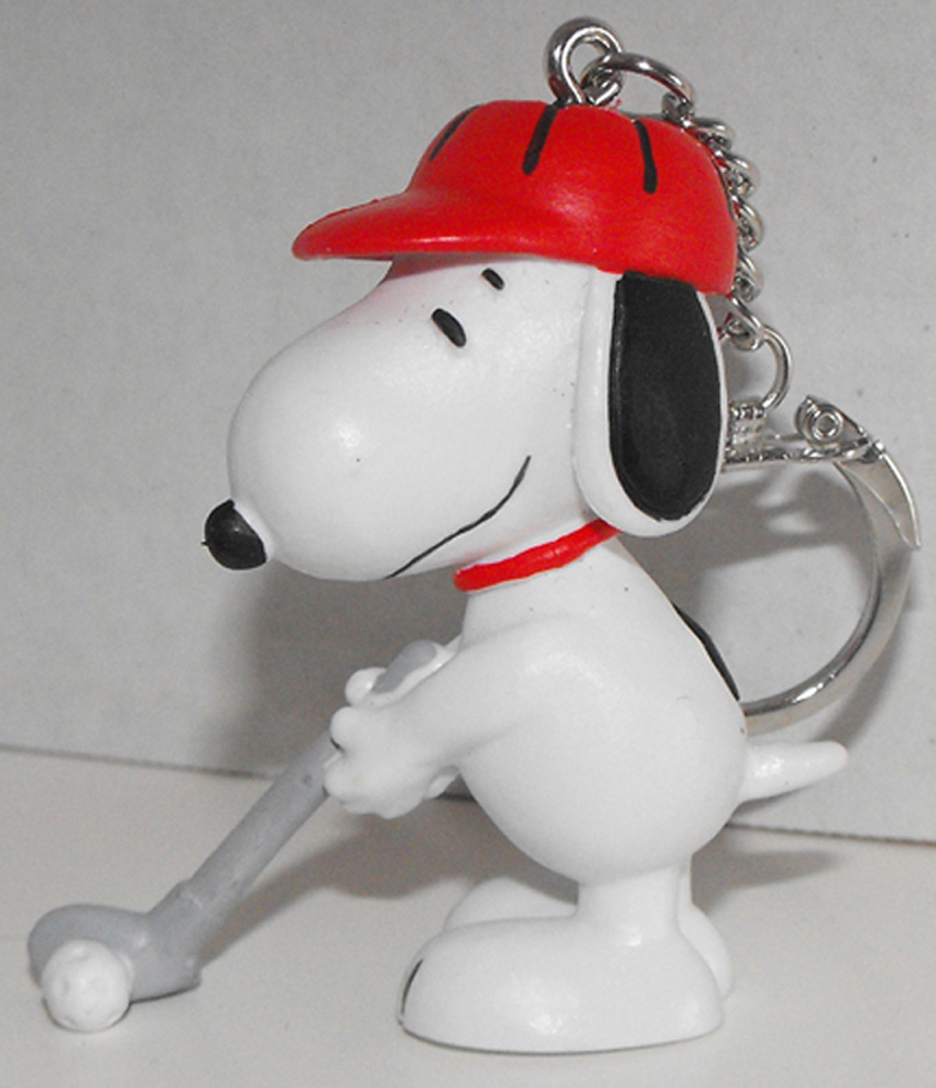 Snoopy Golfing (red hat) 2 inch Figurine Keychain Peanuts Miniature Figure Key Chain