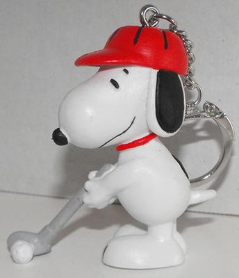 Snoopy Golfing (red hat) 2 inch Figurine Keychain Peanuts Miniature Figure Key Chain