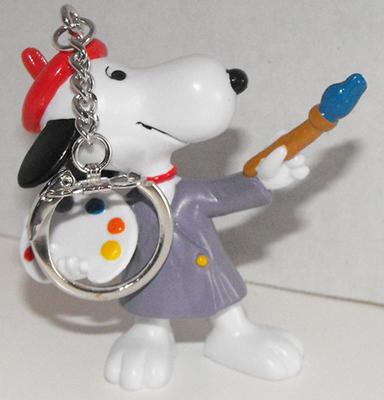 Artist Snoopy 2 inch Figurine Keychain Peanuts Miniature Figure Key Chain