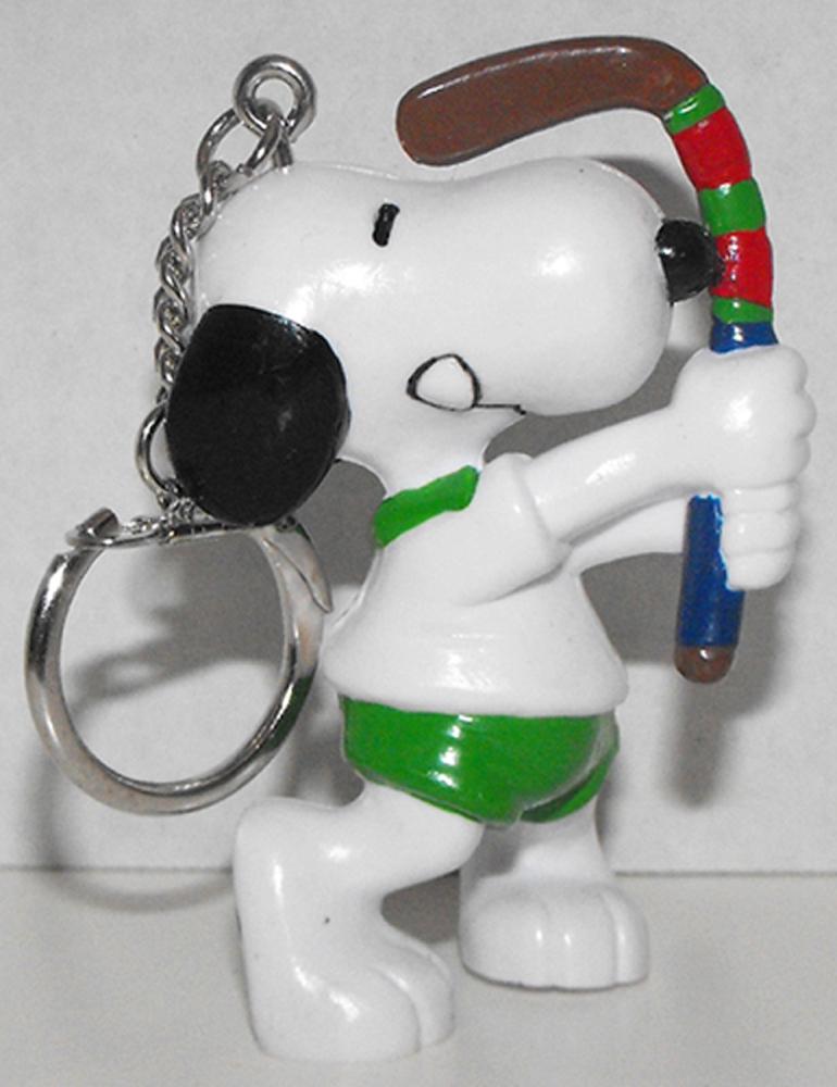 Snoopy Playing Hockey 2 inch Figurine Keychain Peanuts Miniature Figure Key Chain