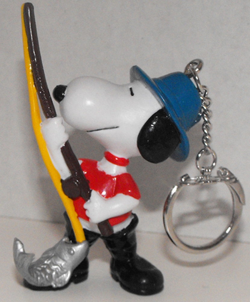 Fishing Snoopy 2 inch Figurine Keychain Peanuts Miniature Figure Key Chain