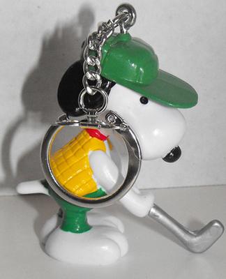 Golfer Putting Snoopy (green hat) Figurine Keychain Peanuts Miniature Figure Key Chain