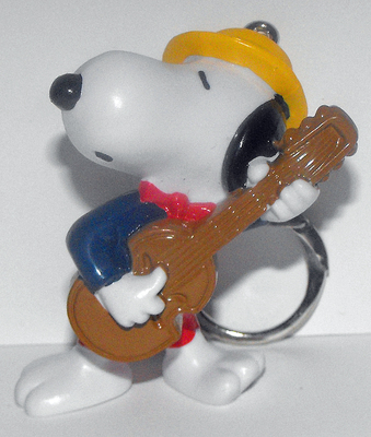 Snoopy with Guitar 2 inch Figurine Keychain Peanuts Miniature Figure Key Chain