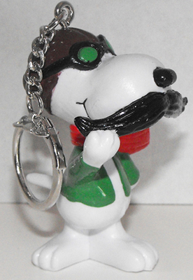 Snoopy Ace Fights Red Barron Figurine Keychain Peanuts Miniature Figure Key Chain