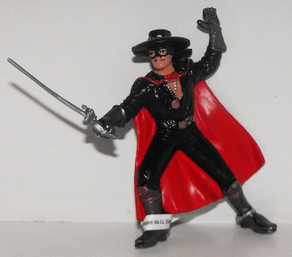 Zorro with Red Cape Vintage Figurine Zoro Plastic Figure