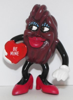 California Raisin Lady Valentine Figurine 3 inch Plastic Figurine