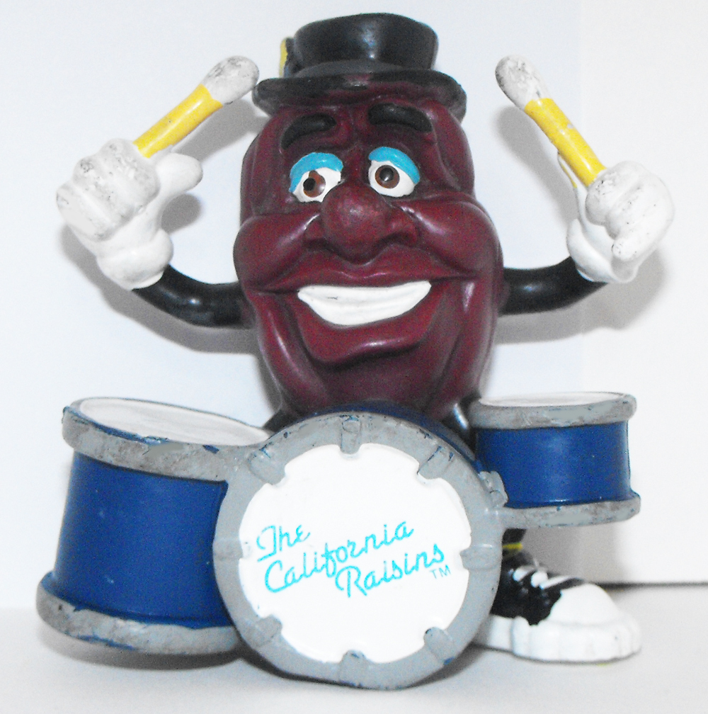 California Raisins Figurine Drumming 3 inch Plastic Drum Figurine