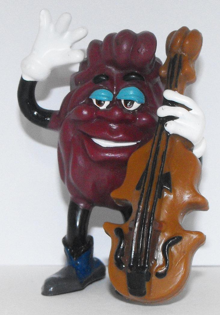 California Raisins Figurine Playing Cello 3 inch Plastic Chello Figurine