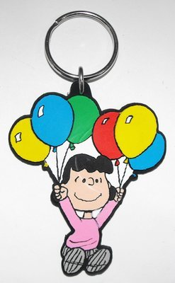 Lucy with Balloons Peanuts Flat Plastic Key Chain Keychain