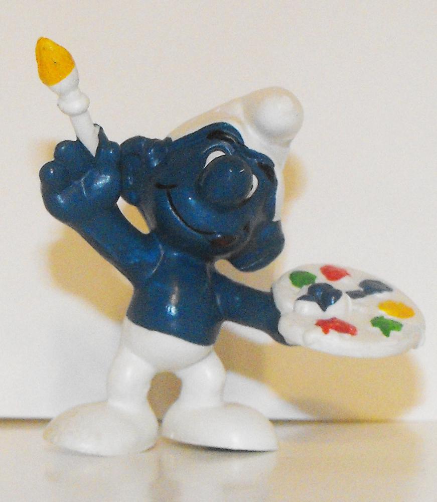 Artist Smurf 2 inch Vintage Figurine 20045