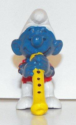 Flautist Smurf Vintage Plastic Figurine 20048