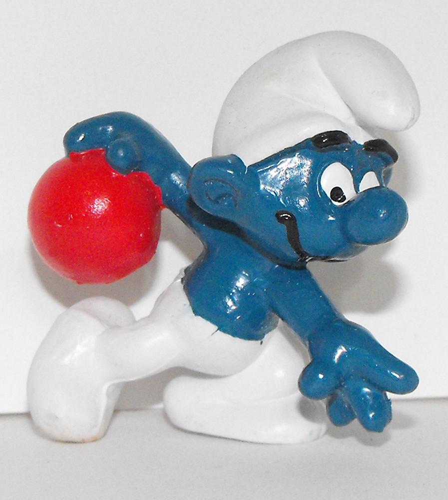Bowler Smurf Vintage 2 inch Plastic Figure 20051