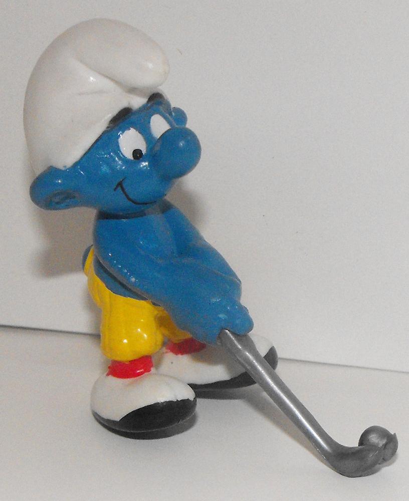 Golfer Smurf Vintage Plastic Figurine 20055