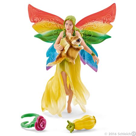 Rainbow Elf Meena with Flying Squirrel Figurine Bayala Schleich Fairy Figure