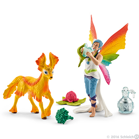 Rainbow Elf Dunja with Foal Figurines Bayala Schleich Fairy Figure Animals