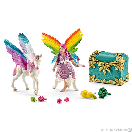 Rainbow Elf Lis with Pegasus Unicorn Foal Bayala Schleich Fairy Horse Figure