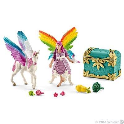 Rainbow Elf Lis with Pegasus Unicorn Foal Bayala Schleich Fairy Horse Figure