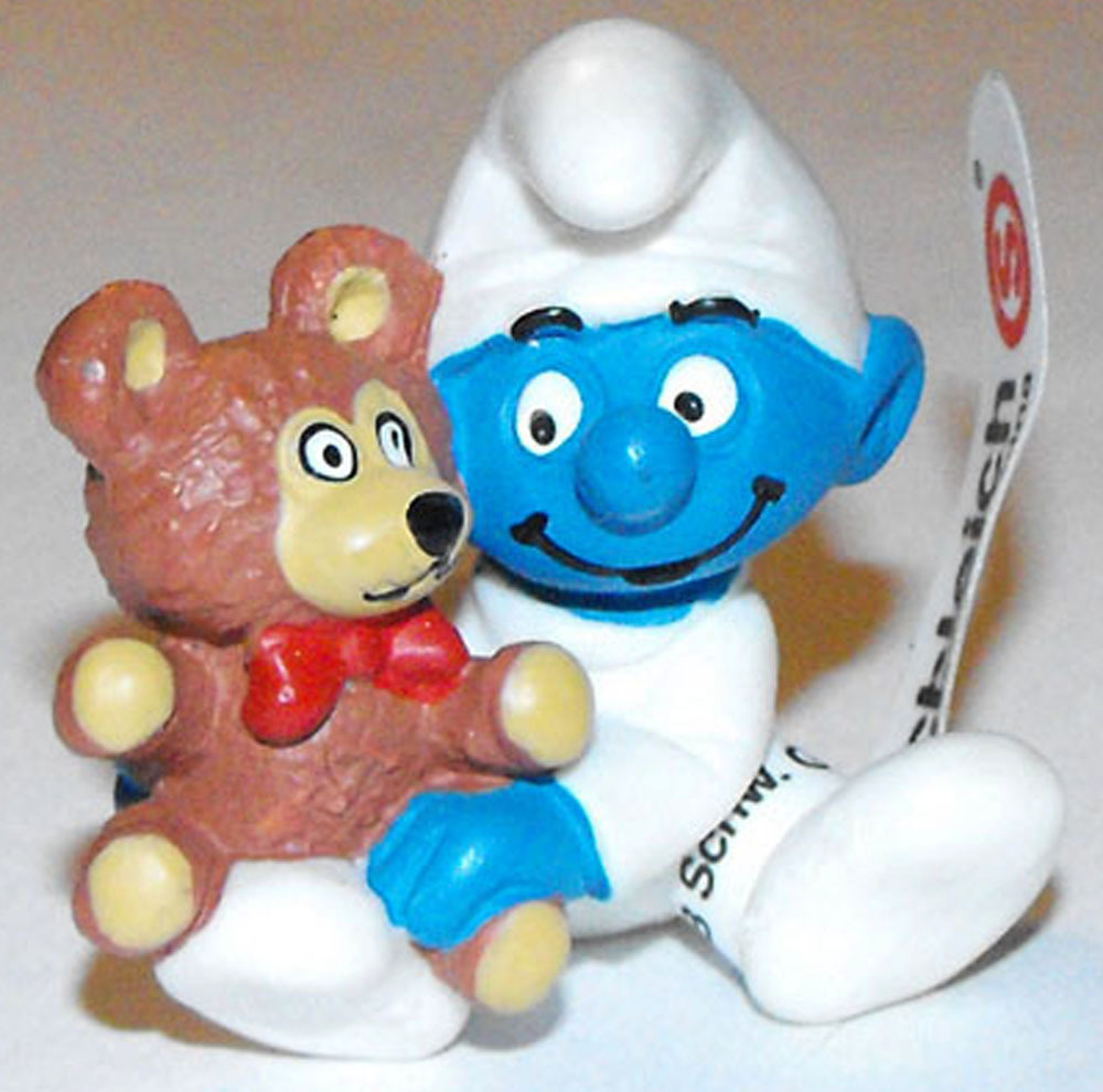Baby with Teddy Bear Smurf Figurine 20205