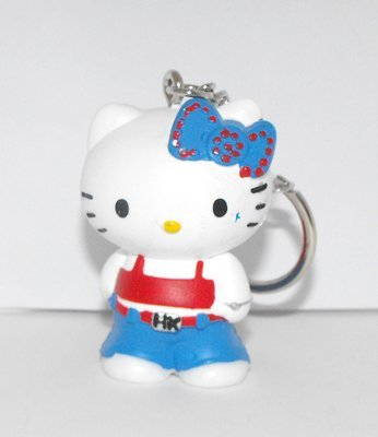 Hello Kitty Blue Bow Punk Outfit 2 inch Plastic Figurine Key Chain Figure Keychain