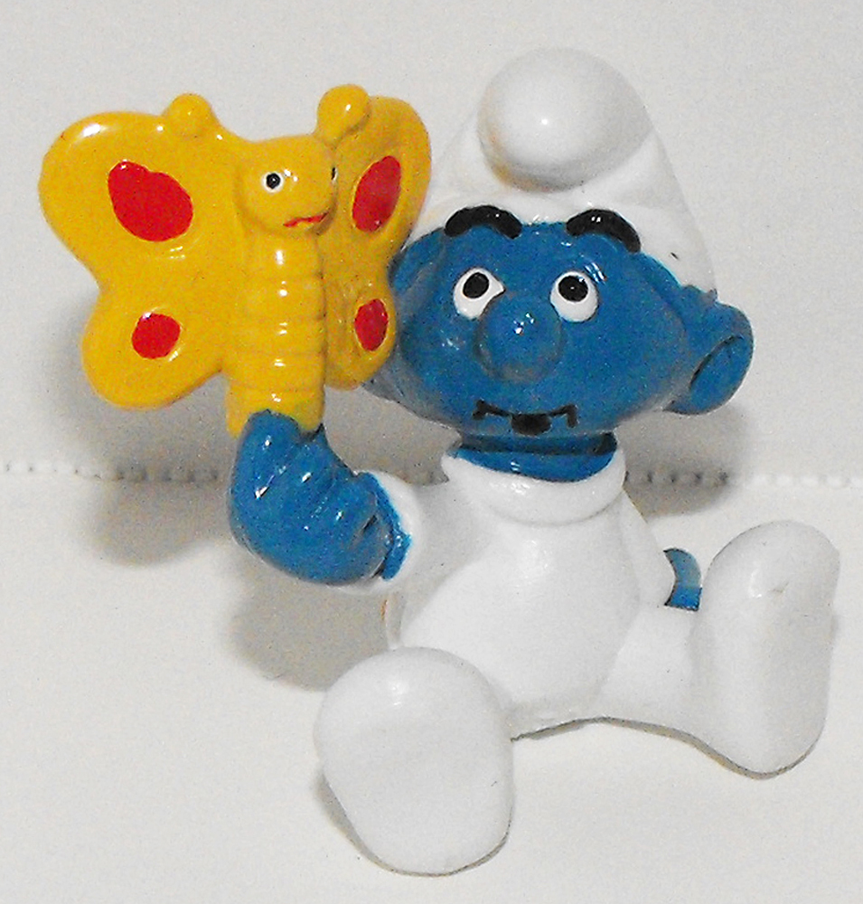 Baby Smurf with Butterfly Vintage Figurine 20218