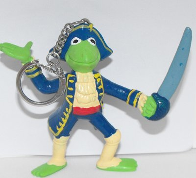 Kermit the Frog  in Treasure Island 3 inch Plastic Figurine Keychain Key Chain
