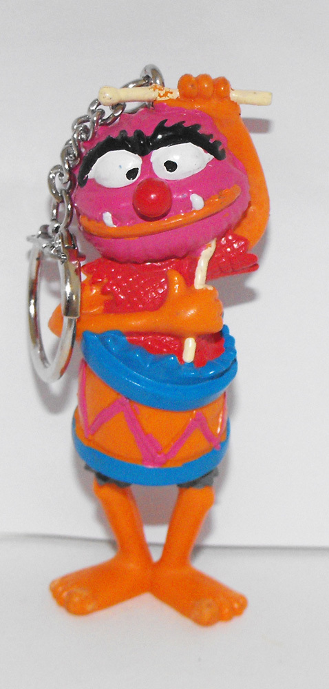 Animal in a Drum 3 inch Figurine Keychain Plastic Muppets Figure Key Chain
