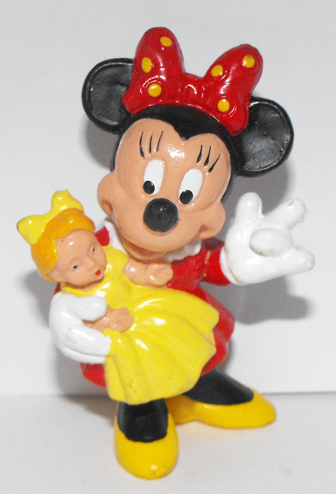Minnie Mouse Holding Doll 2 inch Figurine