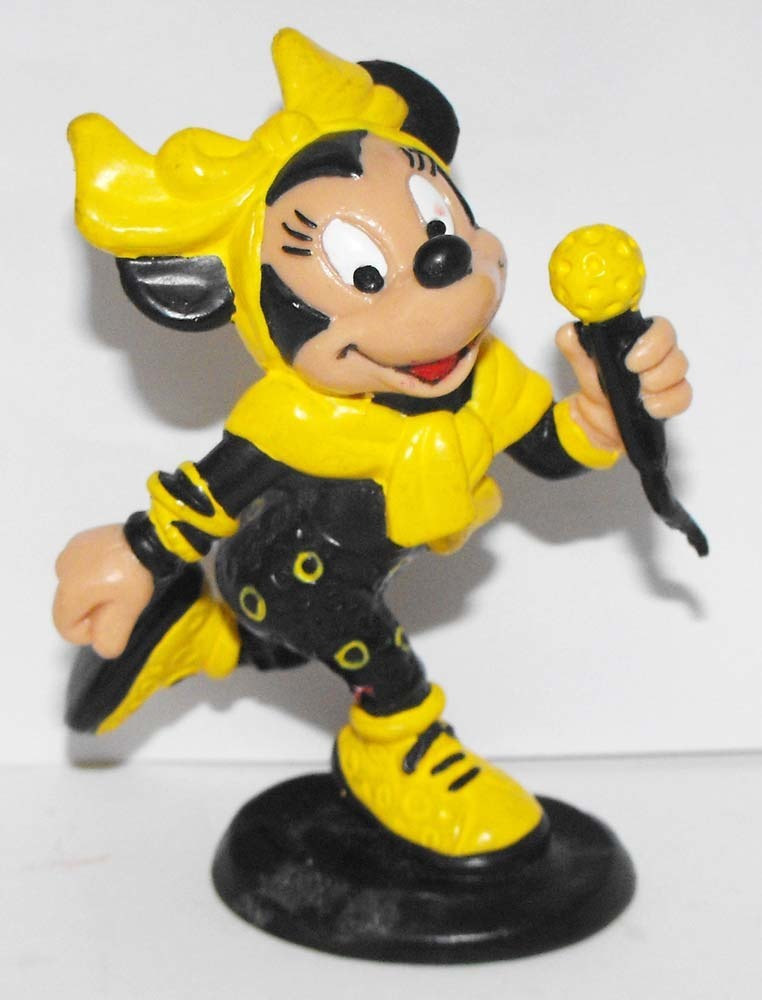 Disco Minnie Mouse Singing Microphone 3 inch Black and Yellow Figurine