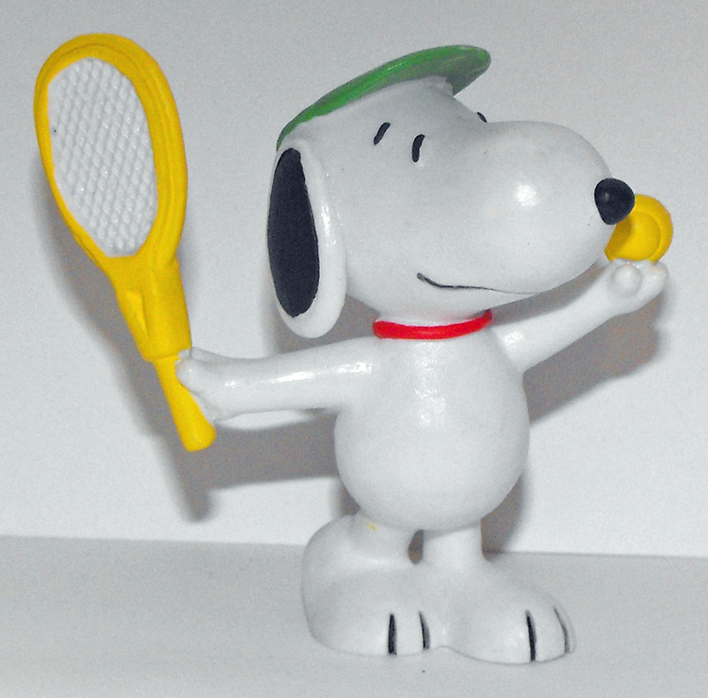 Snoopy Playing Tennis in Green Visor 2 inch Figurine Peanuts Miniature Figure