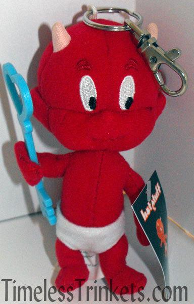 Hot Stuff Plush Keychain with Sky Blue Key Stuffed Animal Toy Key Chain