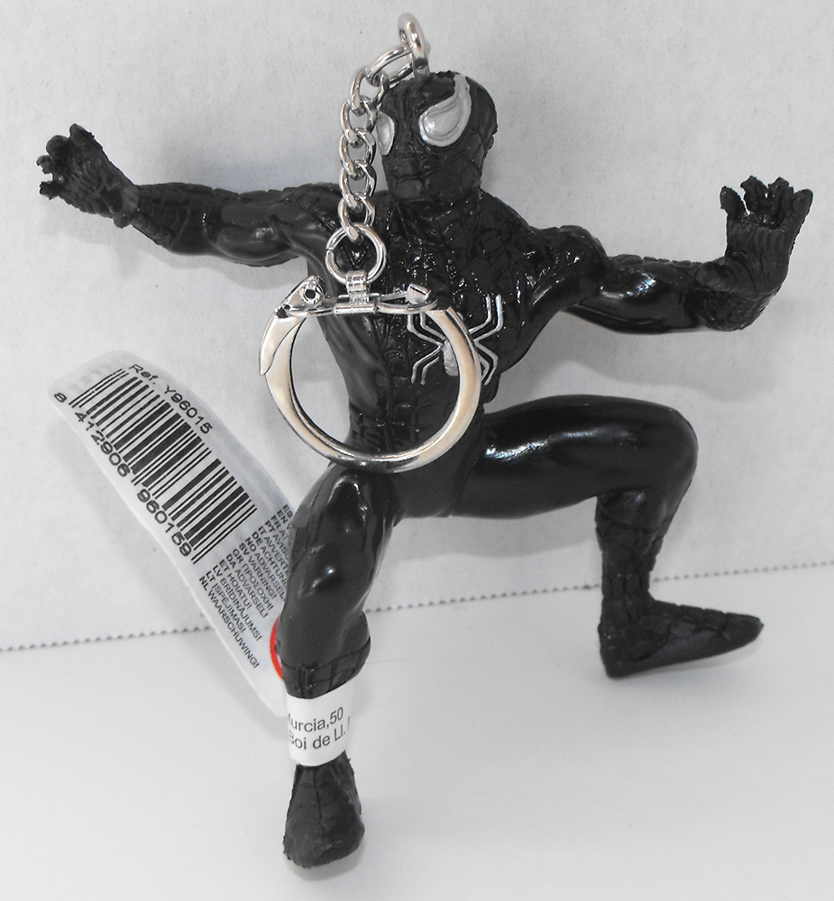 Black Spiderman (standing) Marvel Super Hero Figurine Keychain