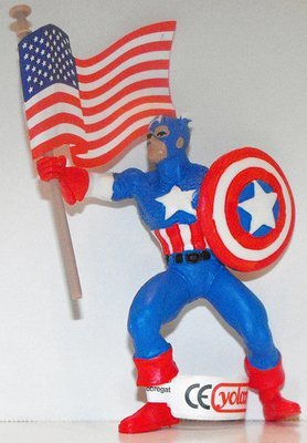 Captain America with Flag Marvel Super Hero 4 inch Figurine