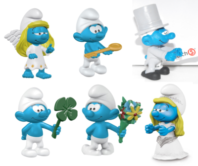 New in 2017 OCCASIONS SMURF SET of 6 Plastic Figurines