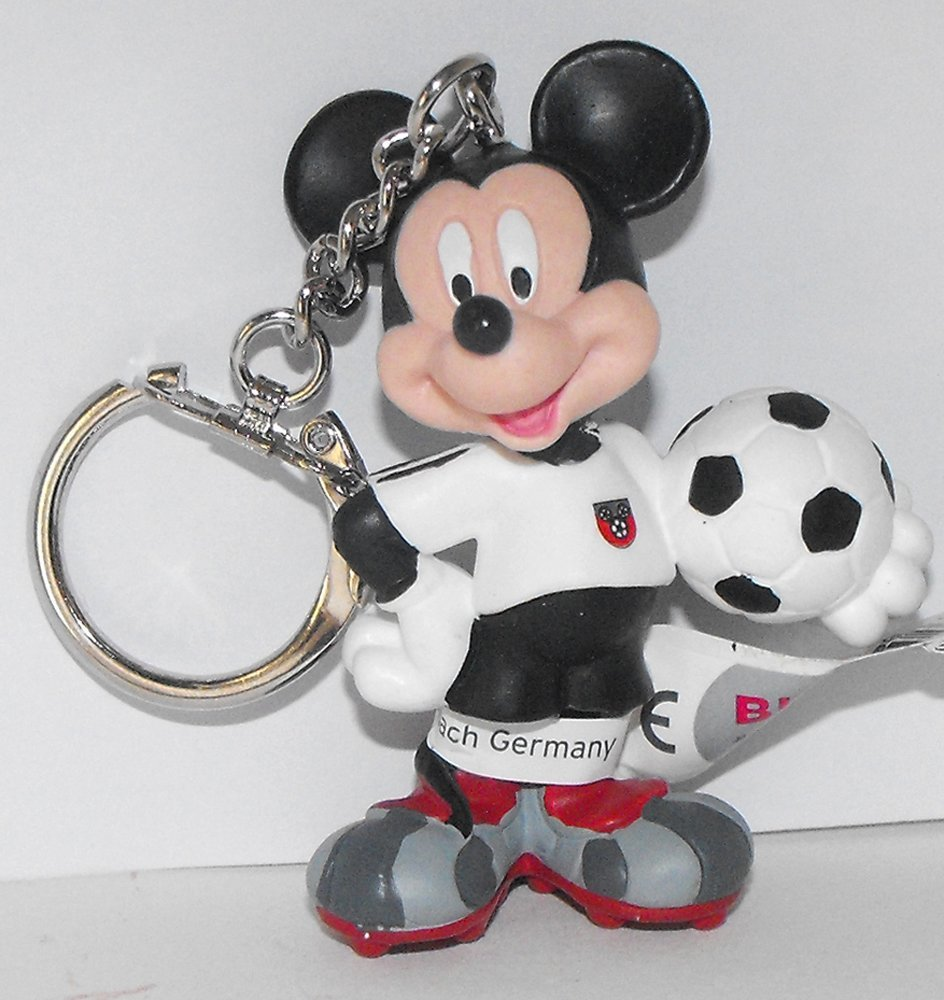 Mickey Mouse (white) Playing Soccer Plastic Figurine Keychain Key Chain