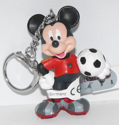 Mickey Mouse (red) Playing Soccer Plastic Figurine Keychain Key Chain