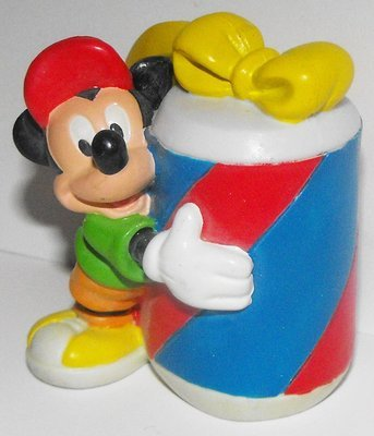 Mickey Mouse Holding Big Present 2 inch Plastic Figurine